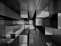 Le métal argenté abstrait cube le fond Photographie stock libre de droits