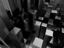 Le métal argenté abstrait cube le fond Images stock