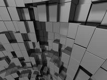 Le métal argenté abstrait cube le fond Image libre de droits
