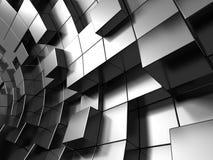 Le métal argenté abstrait cube le fond Photo libre de droits