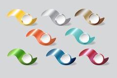 Le métal coloré ondule avec le vecteur d'infographs de cercles de blanc Images stock