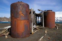le métal de compartiment de l'Antarctique a rouillé des whalers Image libre de droits