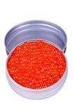 Le métal peut avec le caviar Images libres de droits