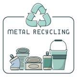 Le métal réutilisant des icônes a placé avec des déchets et l'inscription Photographie stock libre de droits