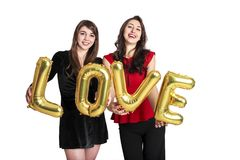 Le même concept d'amour de sexe Deux belles filles de femmes de femelles de communauté de lgbt avec long valent heureux magnifiqu Photos stock