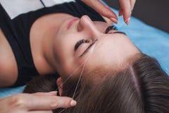 Le maître corrige le maquillage, donne la forme et le fil plume des sourcils dans un salon de beauté photographie stock