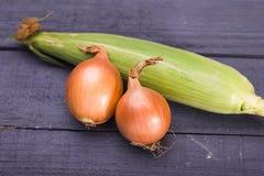 Le maïs et goolden l'oignon Image libre de droits