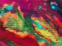 Le macchie verdi viola strutturate variopinte del tessuto del modello dell'estratto del fondo di arte dell'acquerello macchiano l Fotografie Stock Libere da Diritti