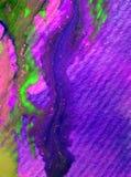 Le macchie verdi viola strutturate variopinte dell'estratto del fondo di arte dell'acquerello macchiano lo straripamento romantic Immagini Stock
