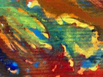 Le macchie verdi viola strutturate variopinte dell'estratto del fondo di arte dell'acquerello macchiano lo straripamento romantic Fotografia Stock Libera da Diritti