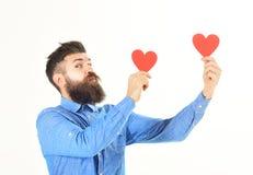 Le macho célèbre le jour de valentines Le hippie envoie ou reçoit des cartes de valentine Photo libre de droits