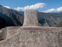 Le Machu Picchu, horloge solaire, Intihuatana Photos libres de droits