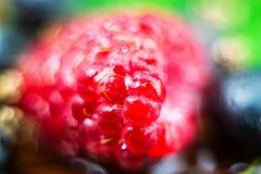 Le macro tir des framboises mûres, fond brouillé de fruit avec le bokeh entoure Image stock