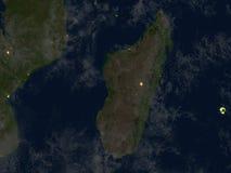 Le Madagascar la nuit sur terre de planète Images libres de droits