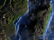Le Madagascar sur terre la nuit - fond océanique évident Photographie stock libre de droits