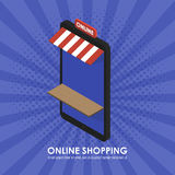 Le magasin isométrique de téléphone de concept faisant des emplettes en ligne Images libres de droits