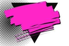 Le magenta tache la triangle noire de recouvrement de partie supérieure sur le fond pointillé Éraflure Mark Passing Over Solid Bl illustration stock