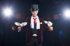 Le magicien avec deux colombes blanches volantes Sur un fond noir image stock