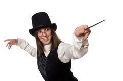 Le magicien de femme d'isolement sur le blanc image stock