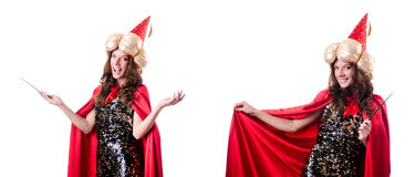 Le magicien féminin d'isolement sur le blanc Image libre de droits