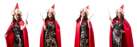 Le magicien féminin d'isolement sur le blanc Photographie stock libre de droits