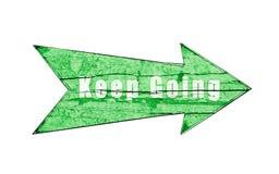 Le ` maintiennent la flèche en bois verte allante de ` d'isolement sur le fond blanc Image stock