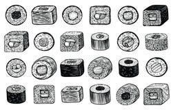 Le maki de sushi roule l'illustration tirée par la main de vecteur, angle de vue différent Nourriture japonaise Illustration de Vecteur
