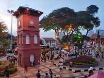 Le Malacca, Malaisie - 24 juin 2019 : Vue scénique de l'église Malacca du Christ et de place néerlandaise, boîte de personnes vue photographie stock libre de droits
