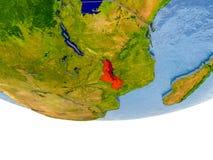 Le Malawi en rouge sur le modèle de la terre Photographie stock