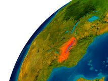 Le Malawi sur le globe Photo libre de droits