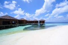 Le Maldive, villa dell'acqua fotografie stock