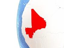 Le Mali sur le globe Photos libres de droits