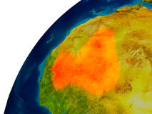 Le Mali sur le globe Image stock
