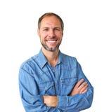 Le man i denimskjorta Fotografering för Bildbyråer