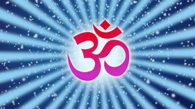Le mandala tournant avec Aum/OM/ohm signent au centre contre le halo blanc Symbole spirituel et sacr? Vid?o faite une boucle sans illustration stock