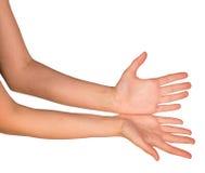 Le mani aperte di una giovane donna Fotografie Stock Libere da Diritti