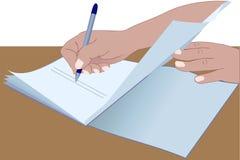 Le mani che firmano il documento Fotografia Stock