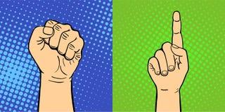 Le mani che mostrano a gesti differenti sordomuti il braccio umano tengono lo stile di Pop art di tocco del pugno di progettazion Immagine Stock Libera da Diritti