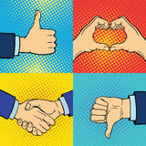 Le mani che mostrano a gesti differenti sordomuti il braccio umano tengono lo stile di Pop art di tocco del pugno di progettazion Immagini Stock Libere da Diritti