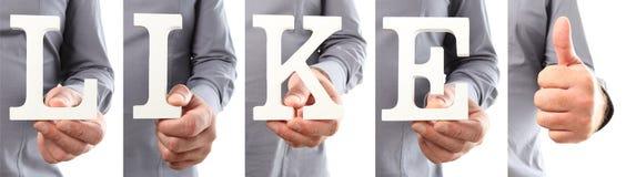 Le mani che tengono il testo della lettera gradiscono la parola Fotografia Stock Libera da Diritti