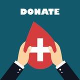 Le mani con cuore modellano sull'illustrazione rossa del fondo, donazione di sangue Fotografia Stock