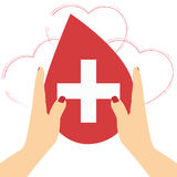 Le mani con cuore modellano sull'illustrazione rossa del fondo, donazione di sangue Immagini Stock