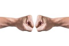Le mani con hanno serrato un fondo bianco isolato pugno Fotografia Stock