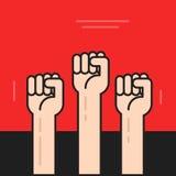Le mani con i pugni hanno sollevato sul vettore, simbolo della protesta, rivoluzione royalty illustrazione gratis