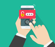 Le mani con il telefono cellulare hanno sbloccato con il bottone dell'impronta digitale ed il vettore di notifica di parola d'ord Immagine Stock Libera da Diritti