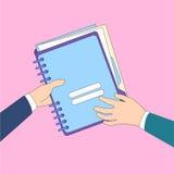 Le mani danno le carte del documento della cartella, icona di dati di informazioni della parte degli uomini d'affari di concetto illustrazione di stock