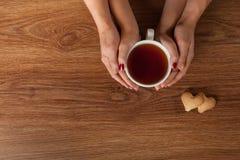Le mani degli uomini e della donna che tengono tazza calda di tè Immagine Stock