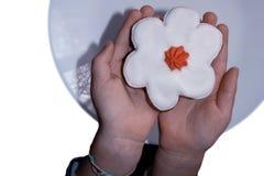 Le mani del bambino hanno messo il dolce su un piatto immagine stock