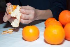 Le mani del bambino puliscono il mandarino sulla tavola bianca Fotografia Stock