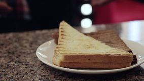 Le mani del cameriere danno un panino caldo Fondo verde degli alberi archivi video